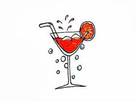 冰镇果汁饮料简笔画画法图片步骤