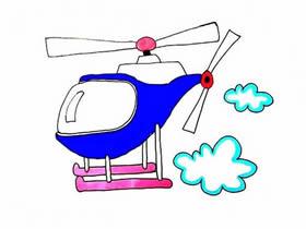 飞行的直升飞机简笔画画法图片步骤