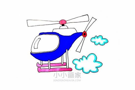 飞行的直升飞机简笔画画法图片步骤- www.xiaoxiaohuajia.com