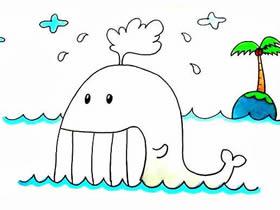 笑嘻嘻的鲸鱼简笔画画法图片步骤