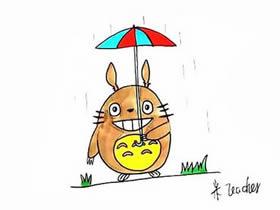 雨天打伞的龙猫简笔画画法图片步骤