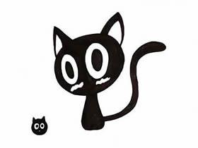 可爱黑色小猫简笔画画法图片步骤