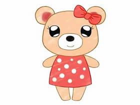 可爱的小熊姑娘简笔画画法图片步骤