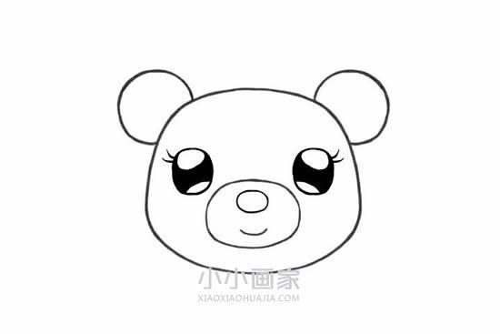 可爱的小熊姑娘简笔画画法图片步骤- www.xiaoxiaohuajia.com