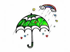 漂亮雨伞简笔画画法图片步骤