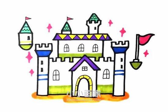 魔法城堡简笔画画法图片步骤- www.xiaoxiaohuajia.com