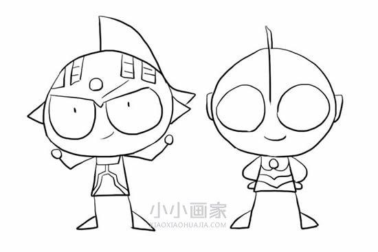 泰罗奥特曼和初代奥特曼简笔画画法图片步骤- www.xiaoxiaohuajia.com
