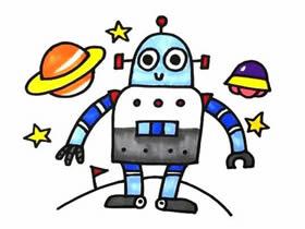 可爱机器人简笔画画法图片步骤