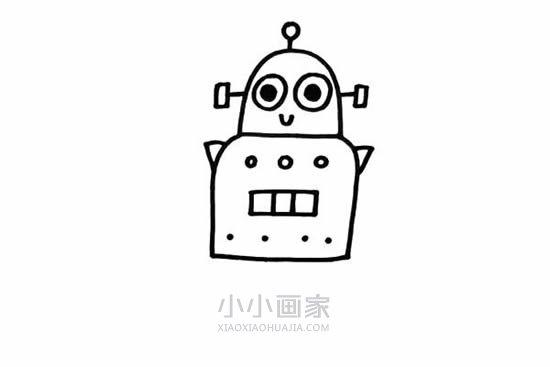 可爱机器人简笔画画法图片步骤- www.xiaoxiaohuajia.com