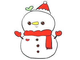 可爱的圣诞雪人简笔画画法图片步骤