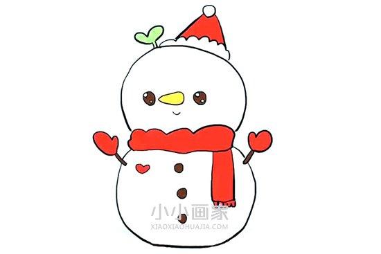 可爱的圣诞雪人简笔画画法图片步骤- www.xiaoxiaohuajia.com