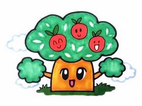 卡通苹果树简笔画画法图片步骤