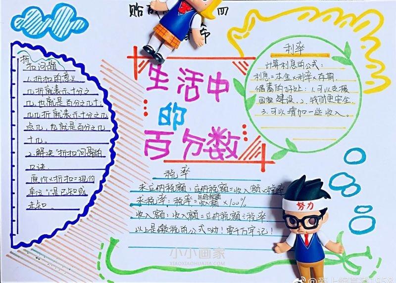 生活中的百分数手抄报简单又漂亮- www.xiaoxiaohuajia.com
