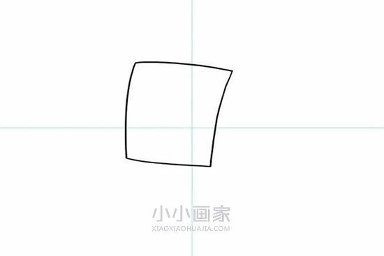 快乐的海绵宝宝简笔画画法图片步骤- www.xiaoxiaohuajia.com