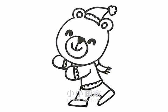 滚雪球的小兔和小熊简笔画画法图片步骤- www.xiaoxiaohuajia.com