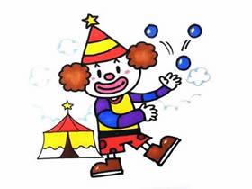 马戏团小丑简笔画画法图片步骤