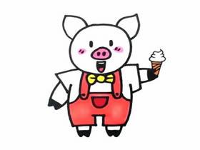 吃冰激凌的小猪简笔画画法图片步骤