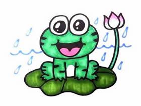 荷叶上的小青蛙简笔画画法图片步骤