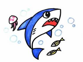 可怕鲨鱼简笔画画法图片步骤