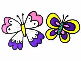 彩色花蝴蝶简笔画画法图片步骤