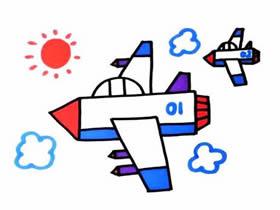 战斗机和僚机简笔画画法图片步骤