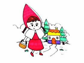 彩色小红帽简笔画画法图片步骤