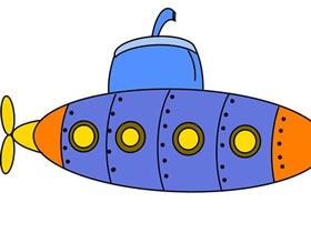 可爱卡通潜水艇简笔画画法图片步骤