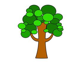 可爱的绿树简笔画画法图片步骤