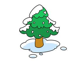 冬天的松树简笔画画法图片步骤