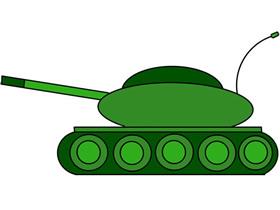 绿色坦克简笔画画法图片步骤