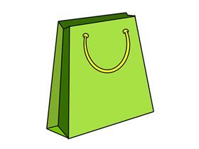绿色购物袋简笔画画法图片步骤