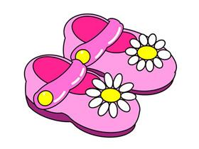 粉色小凉鞋简笔画画法图片步骤