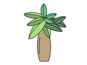 卡通发财树简笔画画法图片步骤