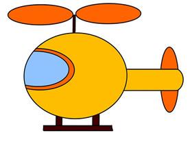卡通直升飞机简笔画画法图片步骤