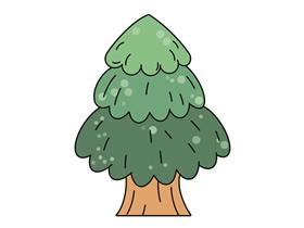 漂亮松树简笔画画法图片步骤