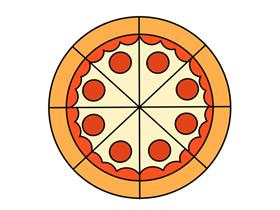 彩色披萨简笔画画法图片步骤