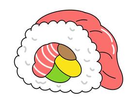 三文鱼寿司简笔画画法图片步骤