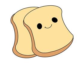 卡通切片面包简笔画画法图片步骤