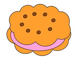 夹心饼干简笔画画法图片步骤