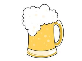 一杯生啤简笔画画法图片步骤